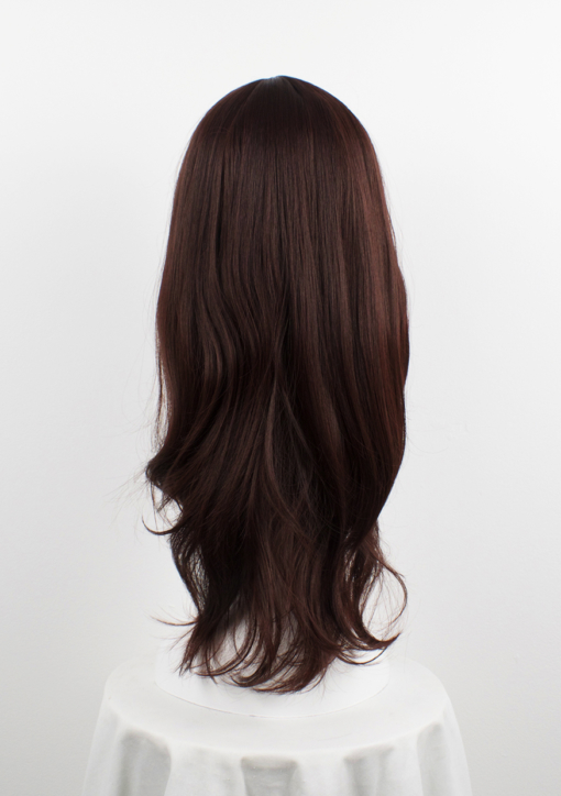 Brown long straight wig with bangs. Chocolate is one of our favourite natural styles. A deep chocolate brown. Sleek with layers cut in to add definition.