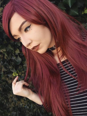 Auburn Red Straight Natural Gothic Cosplay Lush Wig