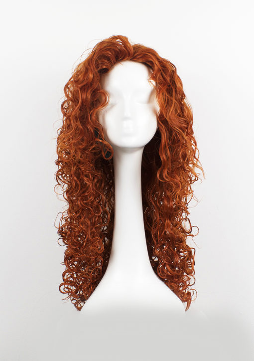 Big bright orange curly wig. Merida is one of our fullest wigs, it is a tumbling mass of auburn set in tight ringlet curls. It has no defined fringe or parting and looks best just brushed off the face, but is versatile enough that the wearer can part on either side for a more tamed look. Naturally, as the name suggests, instant Princess Merida Brave vibes!