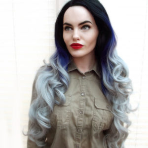 Long Wavy Lace Front Wig Ombre Purple Silver Grey Drag Lush Wig