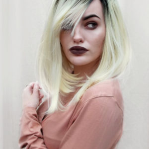 Platinum blonde bob black roots lace front natural lush wig