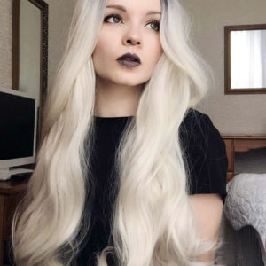 Long Dip Dye White Blonde Dark Blue Black Roots Lush Wig