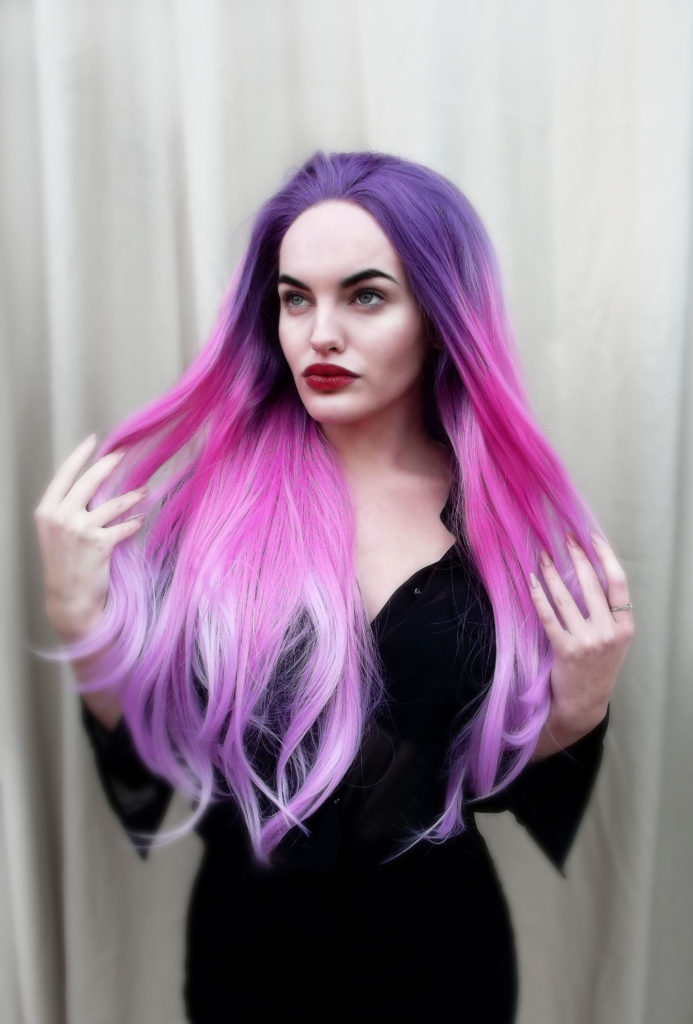 Pink Purple Lilac Ombre Three Colour Fade Big Curls Bright Fuscia Lace Front Lush Wig