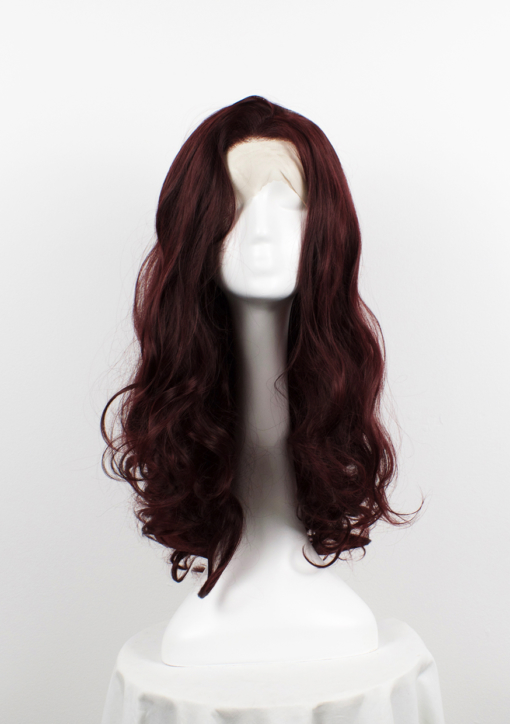 Burgundy red long curly lace front wig. Spiced Apple is a staple style that holds it own. Deep burgundy shades and an abundance of loose curls.