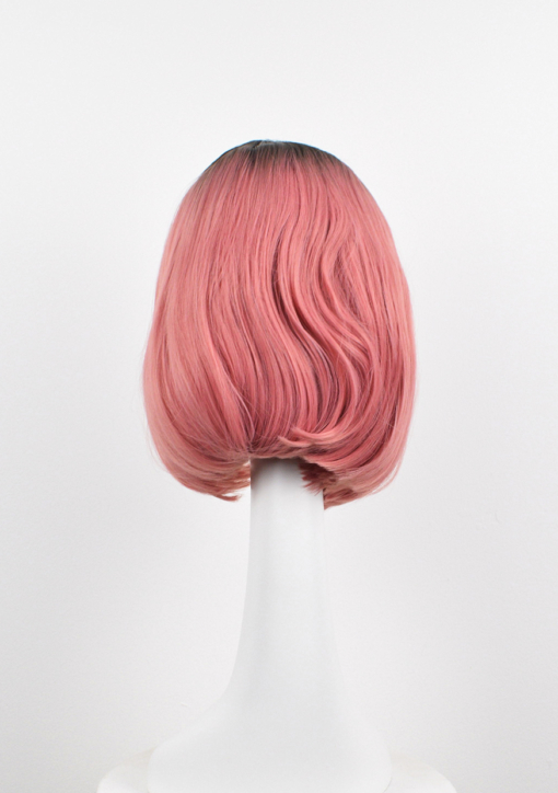 Pink straight long bob lace front wig. Who says pink has to be sweet. Go rock and roll chic in Cosmopolitan. This is a graduated long bob, with black shadowed roots that melt into a lush deep rose.