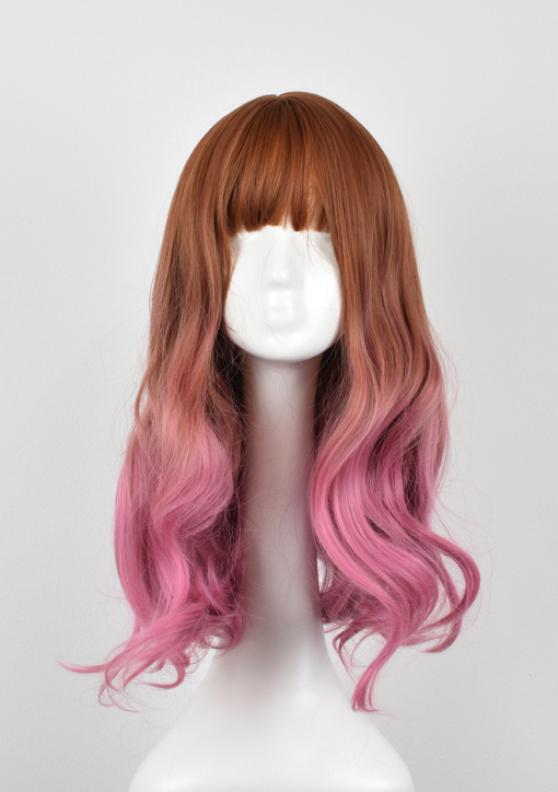 Brown and pink straight wig with curls. Want a little rose-gold with a pop of pink? Rosebud has Light brown roots that lead into a curly soft rose ombre.