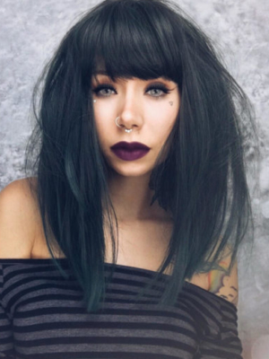 Green long straight wig with bangs. Nephrite is a deep forest green and black mix of shades. Producing this sultry colour. A long, sleek and straight style that falls just past the shoulders, with a full, blunt fringe. The simplistic style makes it easy to wear and maintain.