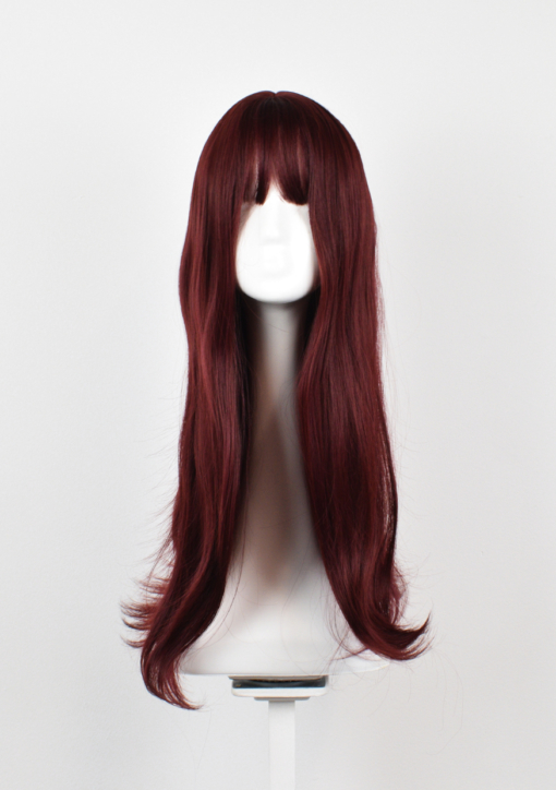 Wine red long straight wig with bangs. Throwback to the hairstyles of the 70s, is Mulberry in a deep cherry colour.
