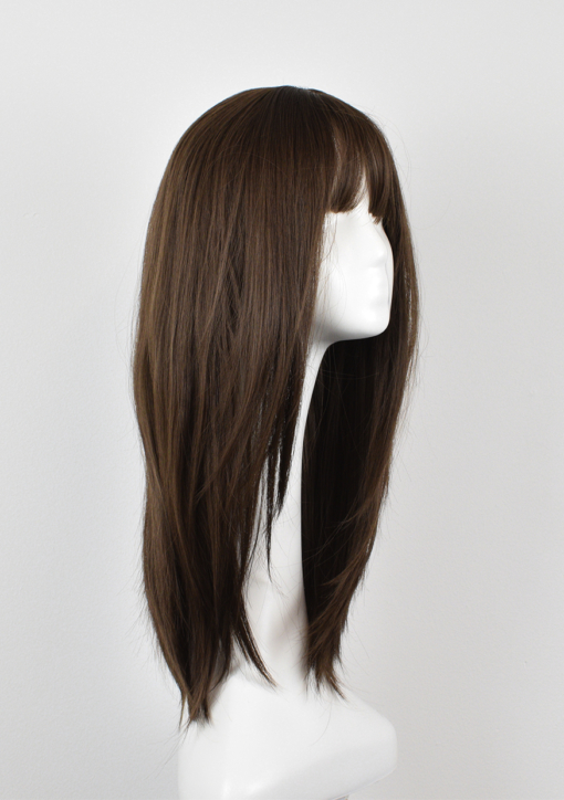 Brown long straight wig with bangs. Sienna is one of our natural styles. A mixture of light chestnut brunette With long layers cut in to add fullness and movement.