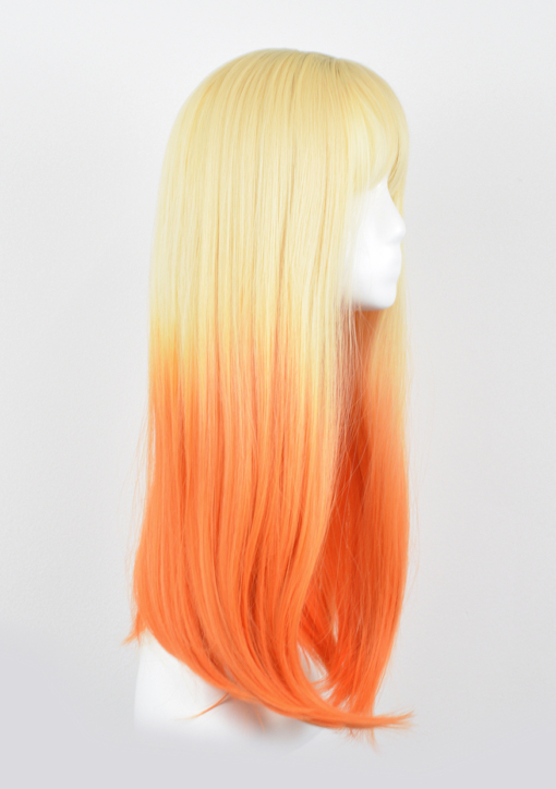 Orange and blonde long straight wig with bangs. Citrus reminds us of sunsets with its fresh and fun take on blonde, that blends into bright orange ombre.