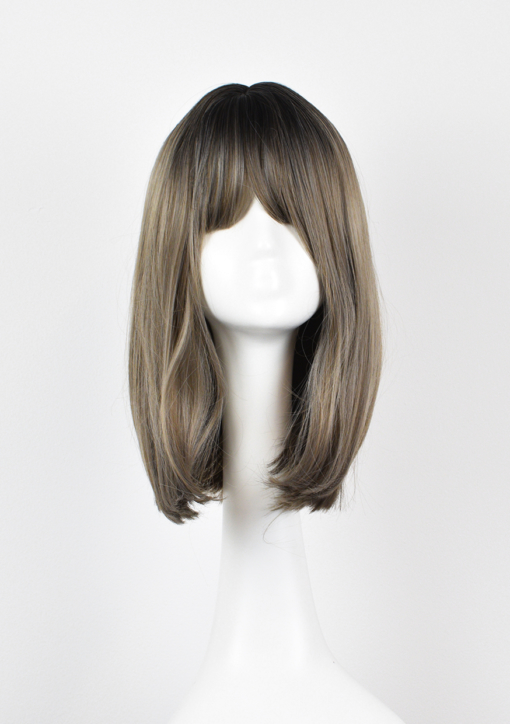 Grey and dark blonde long straightbob wig with bangs. Statue is a fresh everyday look, with a natural combination of oyster grey and sandy blonde hues with dark shadowed roots. It's cut into a long sleek graduated bob.